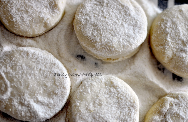 English muffin cornmeal sprinkled