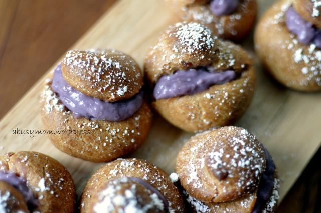 Purple sweet potato choux puffs with sweet potato crème patisserie