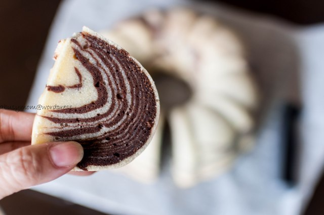 Slice of Zebra Bundt cake